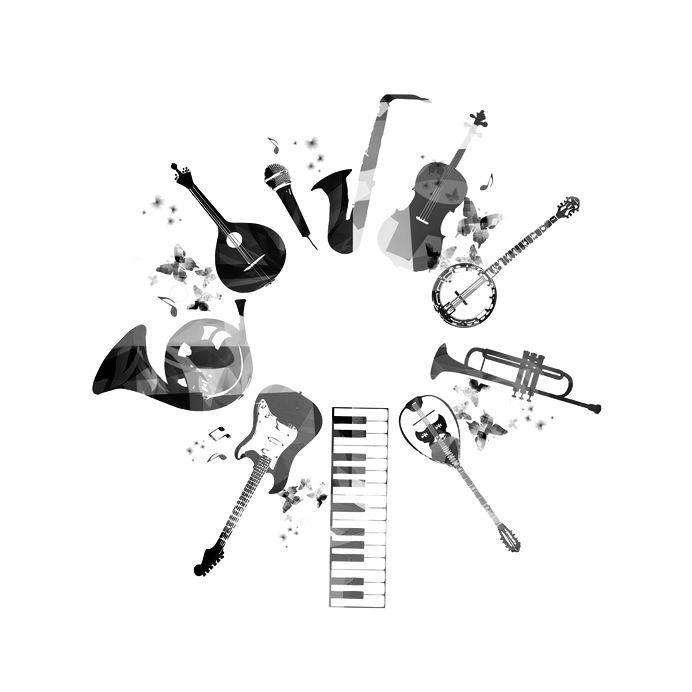 Unterrichtsfächer: Instrumentenkarussell - Instrumente im Kreis angeordnet