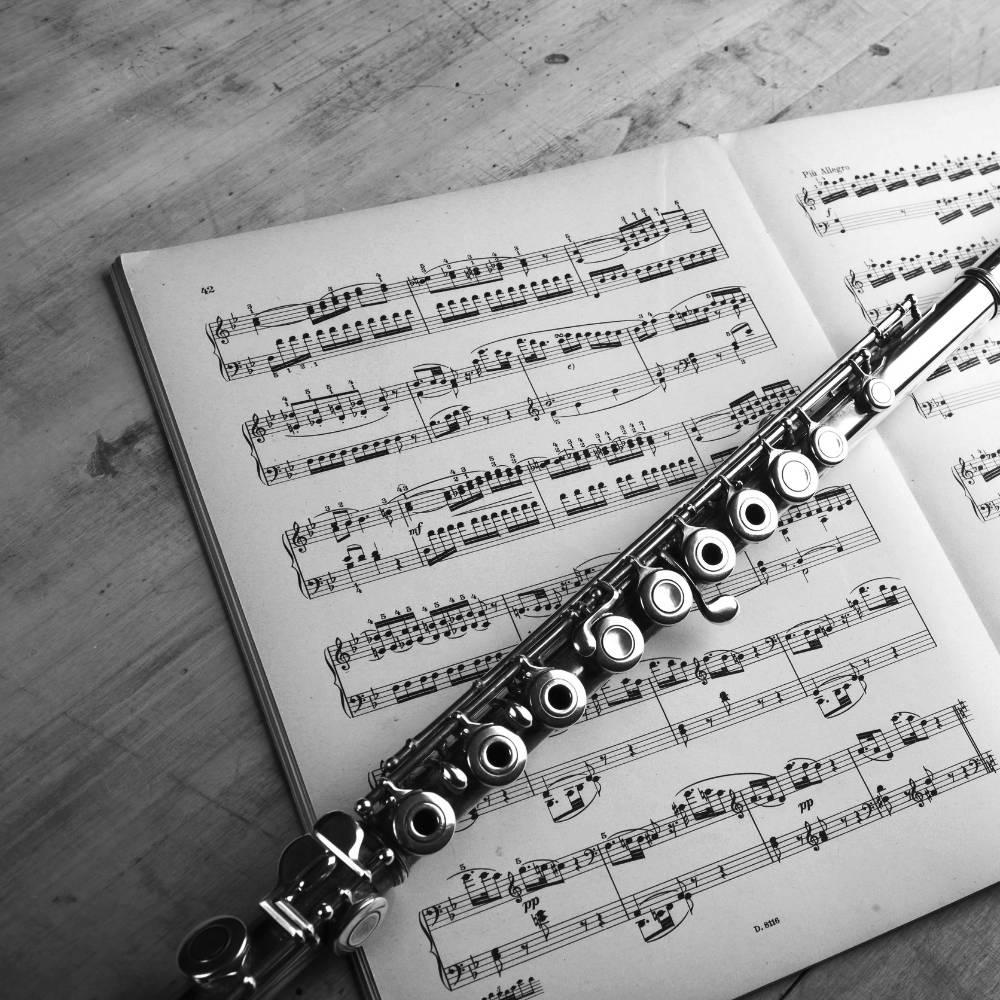 Querflötenunterricht - Flöte liegt auf Noten